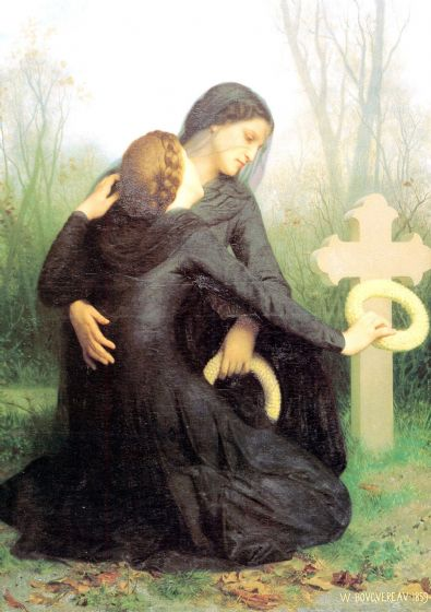 Bouguereau, William Adolphe: All Souls Day. Fine Art Print/Poster. Sizes: A4/A3/A2/A1 (001783)